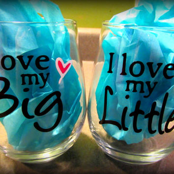 Sister Gift, Sisters, Personalized Sister Wine Glass, Sister Cups, I love my big, I love my little, Big Sister, Little Sister, Sisters Gift