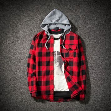 vetement femme 2018 hoodies Tracksuit Men's Autumn Casual Plaid Shirts Long Sleeve Pullover Shirt Top Hooded Blouse Sportswear