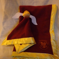 Hogwarts Gryffindor Baby Blanket and Matching Lovie with Snitch Topper