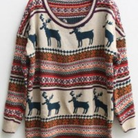 Christmas Deer Round Neck Long Sleeved SweaterS000406