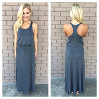 Jersey T-Back Maxi Dress - CHARCOAL