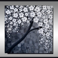 ORIGINAL Textured Art, Contemporary, Black and White Cherry Blossom Tree Painting, Home decor, Landscape, Ready to hang 24x24 Artwork