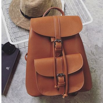 Preppy Style Leather Backpacks Women Vintage Solid Backpacks School Bags For Teenager Girls Schoolbag