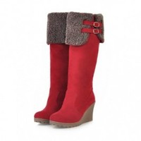Buy Sweet Winter Fuzzy Hemming Two Belt Wedge Boots Red with cheapest price|wholesale-dress.net