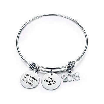 CJampM Graduation Gift Jewelry Stainless Steel 2018 She Believed She Could So She Did Bangle Bracelet Inspirational Gift for GirlWomen