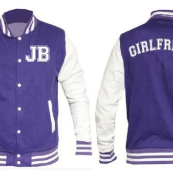 JUSTIN BIEBER JB LETTERMAN BASEBALL VARSITY JACKET IN PURPLE NOT A HOODIE JBV02