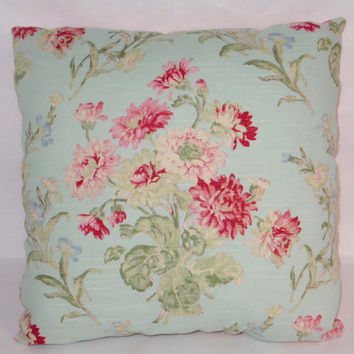 "Aqua Blue Floral Throw Pillow 100% Cotton 16"" Square Hot Pink Ticking Reversible Cover and Insert Included Ready Ship"