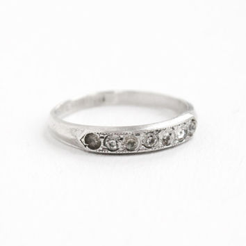 Vintage Sterling Silver Rhinestone Ring - Size 6 1/4 1940s Clear Stone Wedding Band Style Jewelry Hallmarked Uncas
