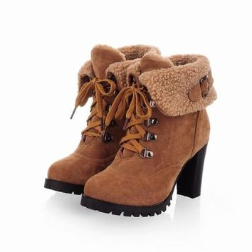 Brown Yellow Black Color Buckle Autumn Winter Faux Fur Womens Ankle Boots Shoes = 1946