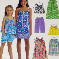 McCall's MP428 Pattern Size CCE 3-4-5-6 Children and Girls Dresses Tops Short and Pants