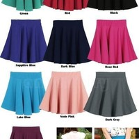 Women Candy Color Stretch Waist Plain Skater Flared Pleated Mini Skirt 15411 = 5613021697