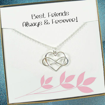 Best Friend Gift - Infinity Heart Necklace, Sterling Silver