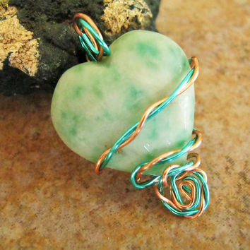 Tree Agate Stone Heart Pendant, Metaphysical Jewelry, Natural Stone Necklace, Copper Wire Wrapped, Handmade, Earth Chakra, Yoga Jewelry