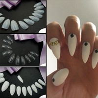600pcs Sharp End Nail Art Full Cover Oval Stiletto False Fake Nails Tips Manicure Artificial Nails Salon SSwell