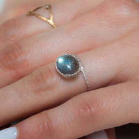 Dear Swallow Hammered Silver Labradorite Oval Ring