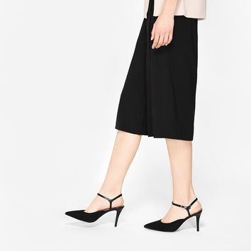Black Pointed Ankle-Strap Heels | CHARLES & KEITH