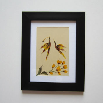 "Unique picture from pressed flowers ""Twosome"" - Pressed flowers art - Original art collage - Home decor wall art - Framed picture."