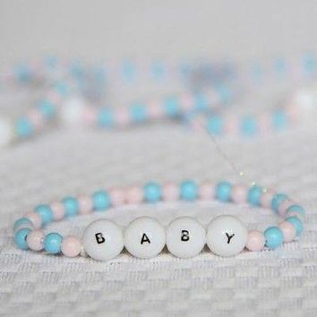 Mini Beaded Baby Bracelet 8 Count Light Pink and Blue Baby Shower DIY Tiny Craft