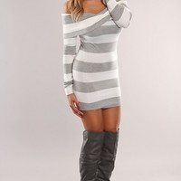 White Grey Long Sleeves Striped Sweater Dress