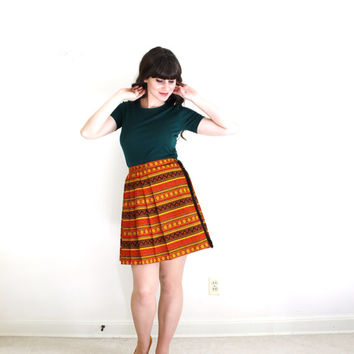 60s Skirt / 60s Mini Skirt / 1960s Orange Kilt Style Skirt