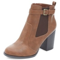 Tan Buckle Side Block Heel Chelsea Boots