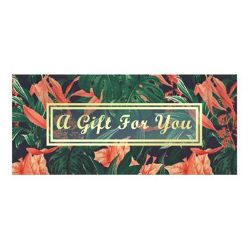 Tropical Floral Gold Makeup Salon Gift Certificate