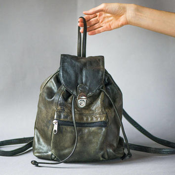 Backpack shabby grey black leather. Vintage rucksack soft genuine leather. Gray backpack with lining hipster bag. 90s backpack unisex