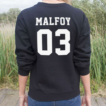 Harajuku Women Sweatshirt Jumper MALFOY 03 Back Letters Print Casual Hoody For Lady Hipster Street Black White TZ203-65