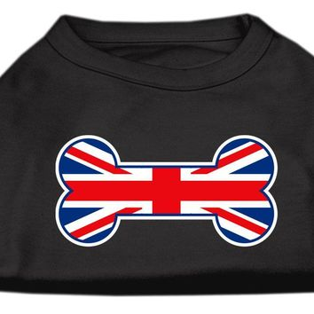 Bone Shaped United Kingdom (union Jack) Flag Screen Print Shirts Black Xs (8)
