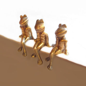 Brass Shelf Frogs, Window Ledge Figurines