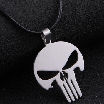 HOT! Silver Chain Men Jewelry MARVEL SUPER HERO SKULL The PUNISHER DARK KNIGHT Stainless Steel silver Chain Pendant Necklace