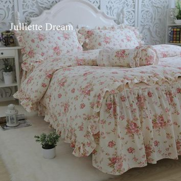 New garden flower print bedding set quality full cotton ruffle duvet cover elegant bed sheet skirt type princess bedspread