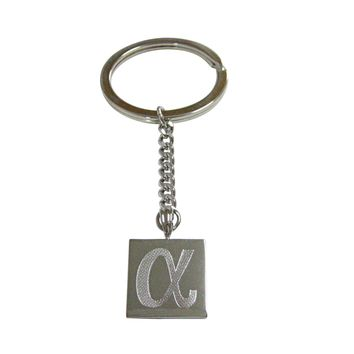 Silver Toned Etched Greek Letter Alpha Pendant Keychain