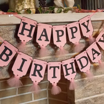 Happy Birthday Banner Birthday Party Decoration Embossed Banner with Tulle in Pink and Black