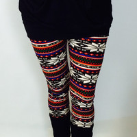 FAST SHIPPING, Snowflake Leggings, Yoga Leggings, Christmas Leggings, Cute Leggings