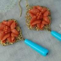 Long Dangling Earrings Coral Lily Turquoise Glass Drop Dangle Vintage Assemblage