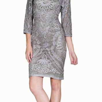 Silver Appliqued V-Neck Short Sheath Dress with Jacket