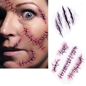 HOT!! 1PCS  Halloween Zombie Scars Tattoos With Fake Scab Blood Special Fx Costume Makeup