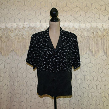 80s Oversized Shirt Boxy Top Short Sleeve Blouse Button Up Black Print People Novelty Graphic Size Large XL Vintage Clothing Womens Clothing