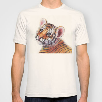 Tiger Cub Watercolor Painting T-shirt by Olechka