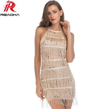 Sexy Halter Sequins Summer Dress Women Backless Bandage Tassel Elegant Nightclub Black Red Pink Gold Party Dressees Vestido 2018