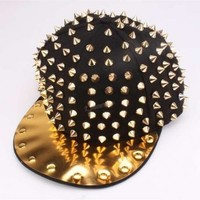 Black Baseball Cap with All Over Gold Spike Detail