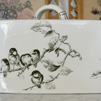 Antique English Victorian Transferware Cheese Keep Triangle Song Birds Ivy Aesthetic Movement