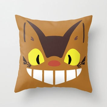 Catbus Kawaii Chibi My Neighbor Totoro Throw Pillow 16x16 Art Cover Anime Decorative Creature Manga Hayao Miyazaki Studio Ghibli Cat Bus Tan