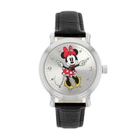 Disney Women's Minnie Mouse Leather Watch (Black)