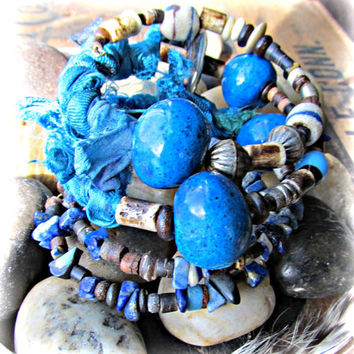 INDIGO SKY~Artisan Four Coil Bangle Wrap Bracelets~Silk Sari~African Trade Beads~~ETHNIC, Earthy~Rustic~Mdogstudios~