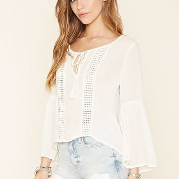 Crochet Self-Tie Peasant Top