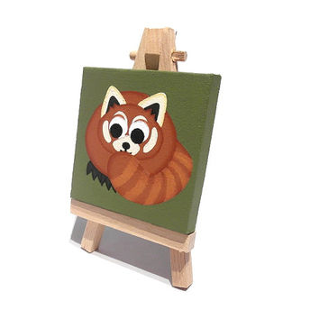 Red Panda Mini Painting - small acrylic art on canvas with easel