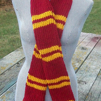 Knitted Red and Gold Striped Long Scarf Potter Ready to Ship