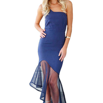 Navy Asymmetrical Fishtail Semi-sheer Hem Maxi Dress